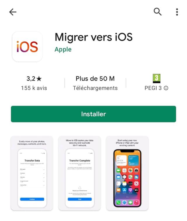 Migrer vers iOS, l'application qui vous permet facilement de passer d'un smartphone Android à un iPhone.