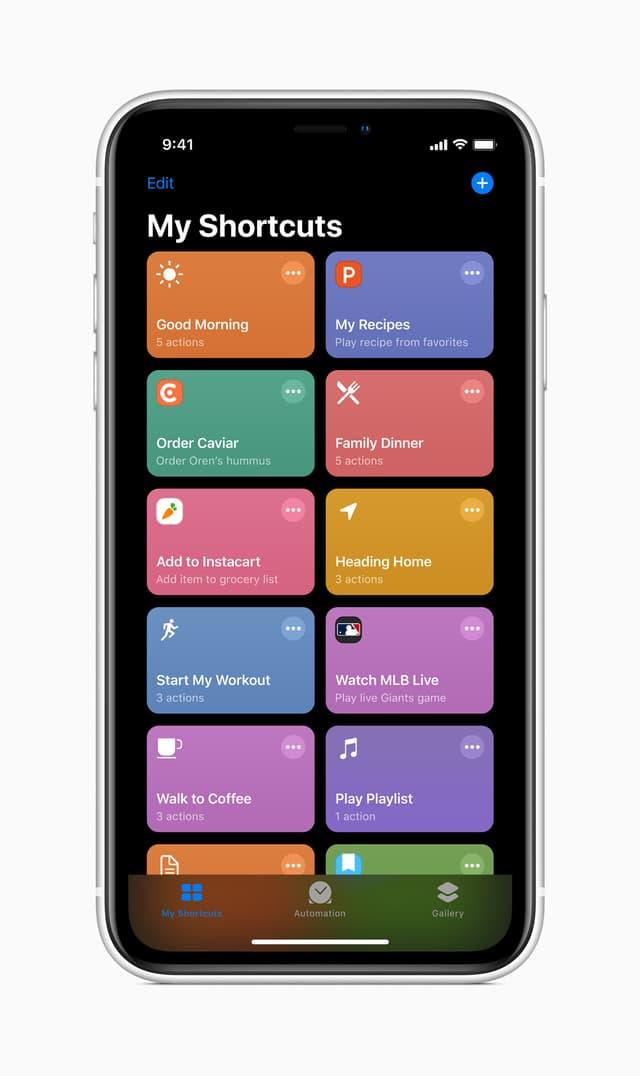 """L'interface de l'application Raccourcis (""""Shortcuts"""" en anglais), sous l'onglet """"Mes raccourcis""""."""