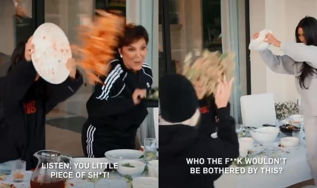 La famille Kardashian en pleine bataille de nourriture.