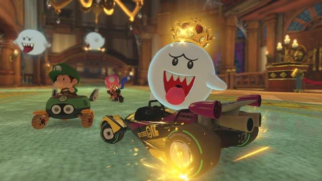 Le Roi Boo, l'un des personnages jouables du jeu Mario Kart 8 Deluxe sur Nintendo Switch.