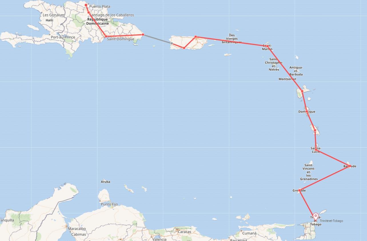 Pékin Express : la route des Caraïbes. Départ : République dominicaine, arrivée : Trinité et Tobago.