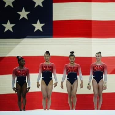 Les Américaines se présentent à la finale féminine par équipe aux Mondiaux de gymnastique à Stuttgart, le 8 octobre 2019.