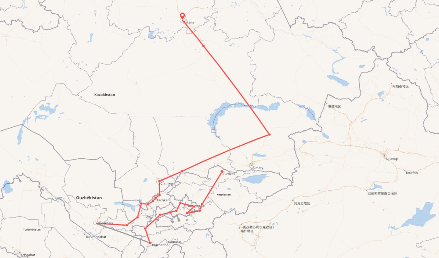 """Pékin Express, la route des """"stan"""". Départ : Bichkek, arrivée : Astana."""