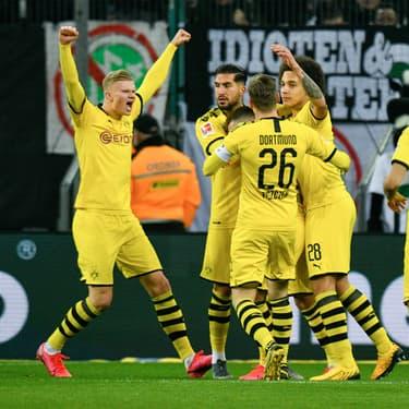 Les joueurs du Borussia Dortmund lors d'un match de Bundesliga face au Borussia Mönchengladbach, le 7 mars 2020.