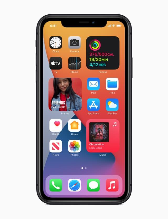 Exemples de widgets permettant de mettre en avant certaines applications et fonctionnalités sur l'iPhone.