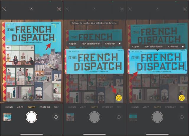 Quand des bords jaunes apparaissent autour du texte, cliquez sur l'icône en bas à droite de l'image pour faire ressortir celui-ci, puis sélectionnez et choisissez l'action souhaitée (copier, chercher sur Internet, traduire ou partager).