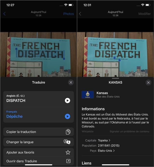"""Live Text sait faire des traductions (à gauche : """"Dispatch"""" signifie effectivement """"Dépêche"""") et des recherches Internet (à droite : souligner le terme """"Kansas"""" nous donne un aperçu de la page Wikipédia consacrée à cet État)."""
