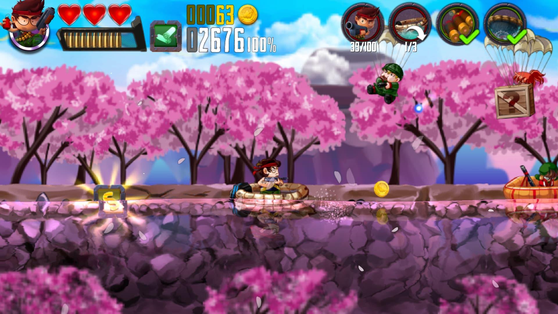 Traversez des rivières bordées de cerisiers en fleur dans Ramboat.