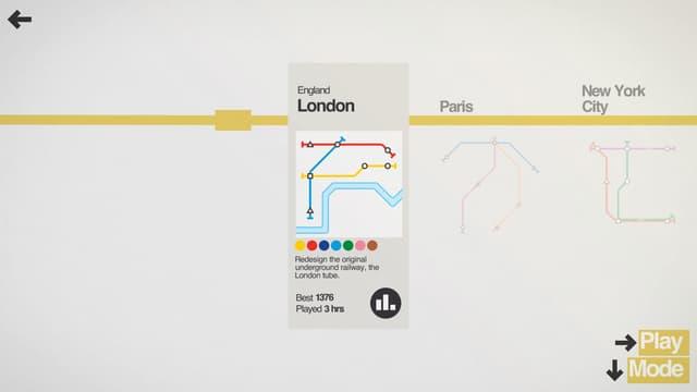 Écran de sélection des villes jouables dans le jeu mobile Mini Metro.