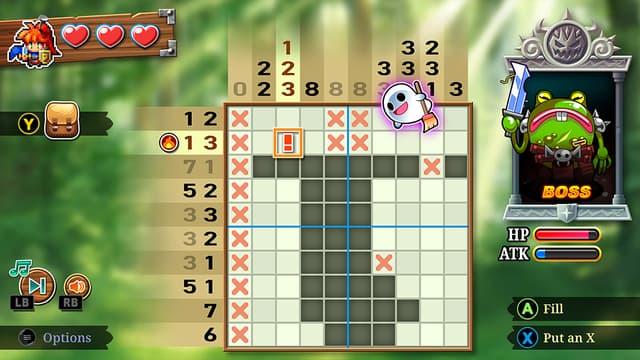 Une grille / un tableau dans le jeu PictoQuest, les chiffres sur les côtés indiquent les cases noircies à trouver
