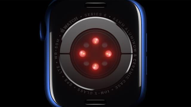 Le capteur Oxygène sanguin utilise des LED et des photodiodes situées dans le cristal au dos de l'Apple Watch Series 6