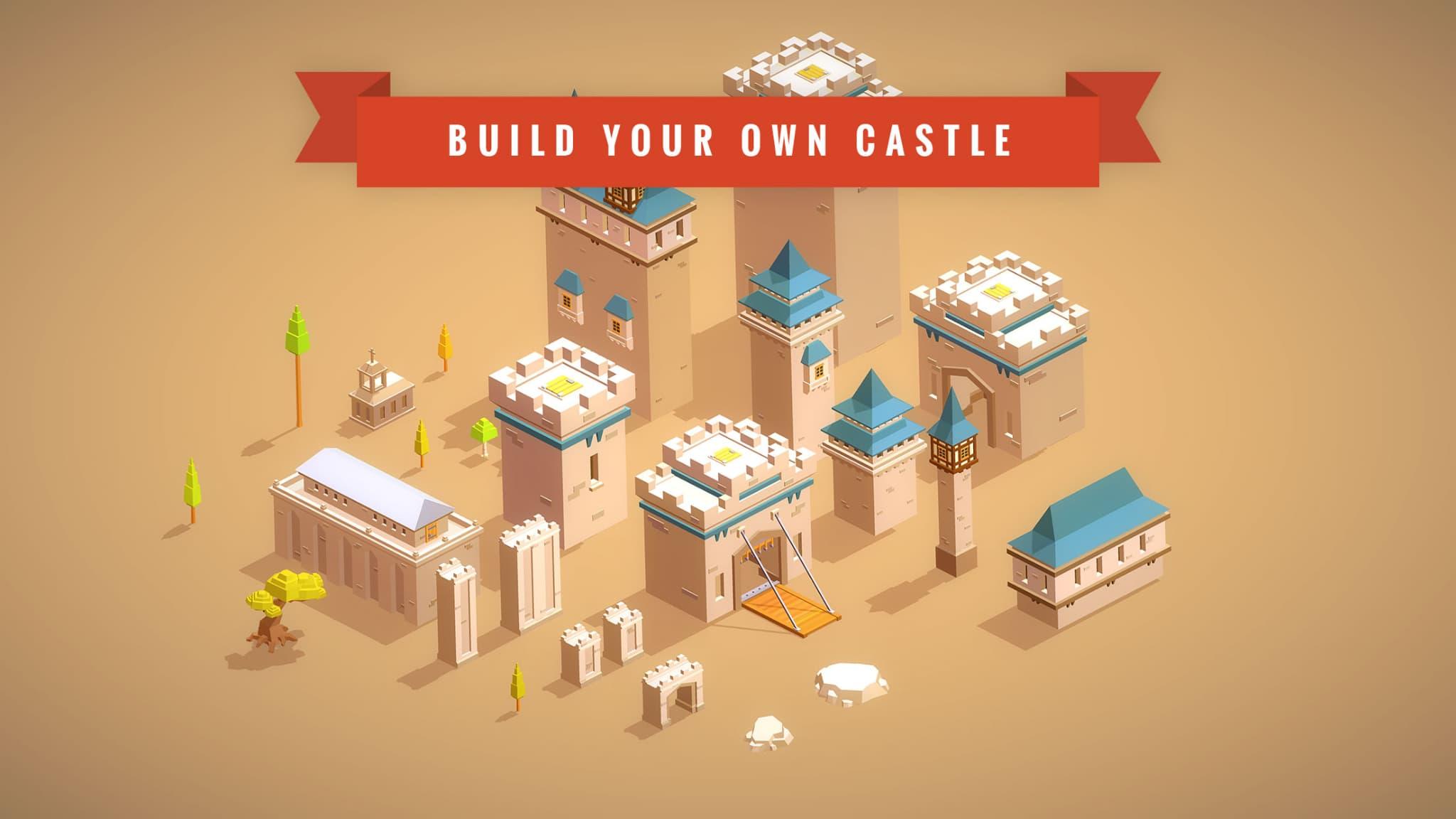 Une portion des éléments médiévaux que vous pouvez construire dans le jeu mobile Pocket Build.