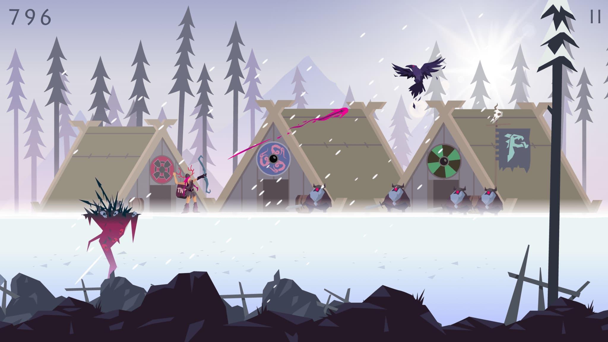 L'un des personnages de Vikings: an Archer's Journey, tirant une flèche explosive sur un corbeau.