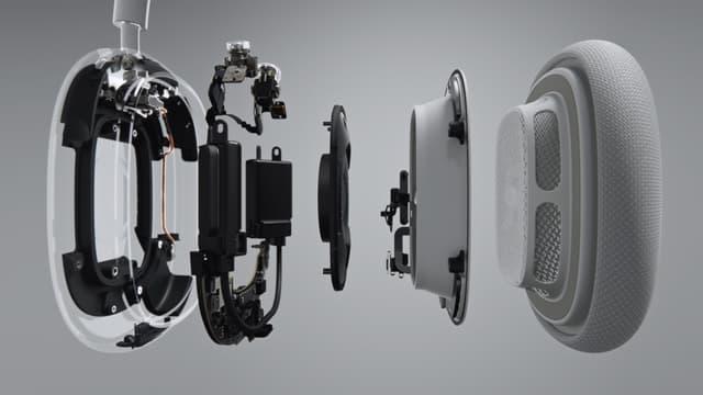 """Sur l'AirPods Max, Apple promet """"une conception acoustique unique avec un transducteur dynamique de 40 mm et deux moteurs à aimant néodyme torique""""."""