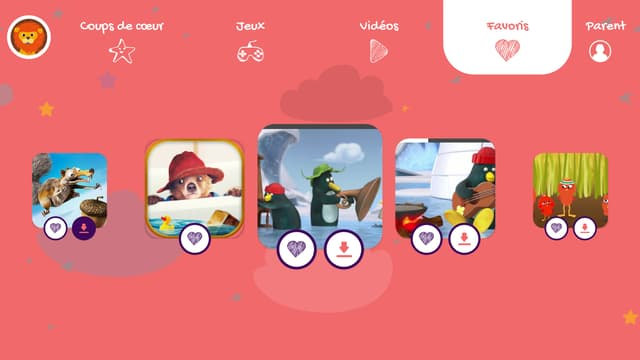 L'interface de l'application SFR Kids Récré.