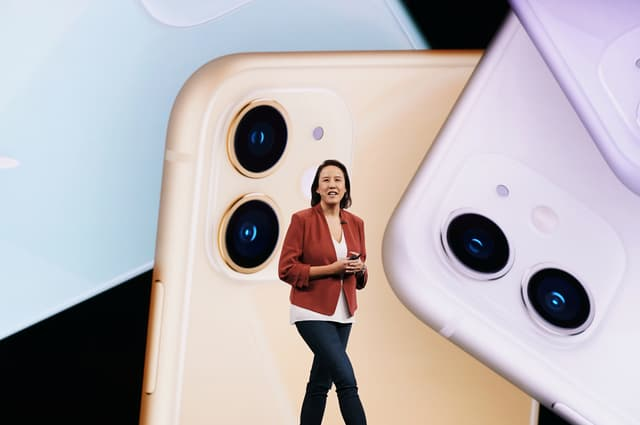 Kaiann Drance presents the iPhone 11's dual camera during the Apple keynote in September 2019.