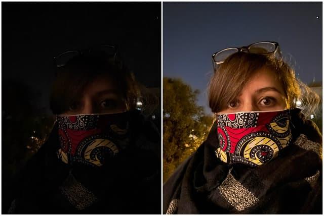 Exemple de selfies en pleine nuit : cliché instantané à gauche, photo prise avec une pose longue (10 secondes) à droite. Pas de flash, ni de retouche !