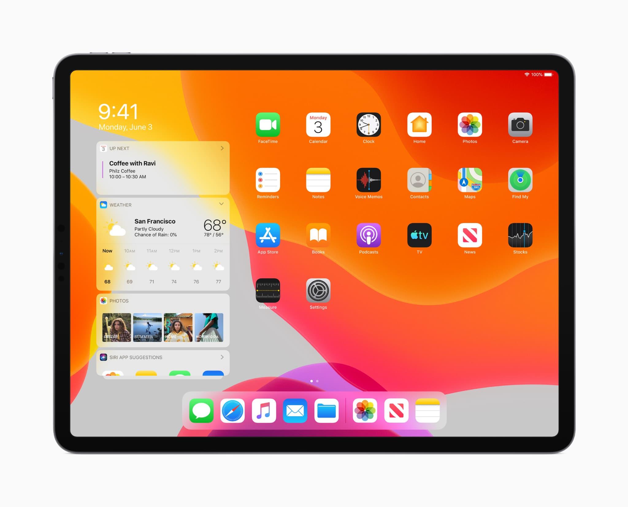 Nouvel iOS pour l'iPad, comme présenté par Apple au WWDC 2019, plus adapté aux tablettes.