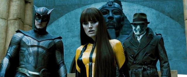 Le Hibou, Spectre Soyeux et Rorschach dans le film Watchmen - Les Gardiens en 2009.