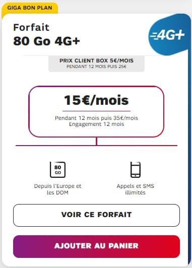 Forfait 80 Go 4G+ à partir de 5 euros par mois.
