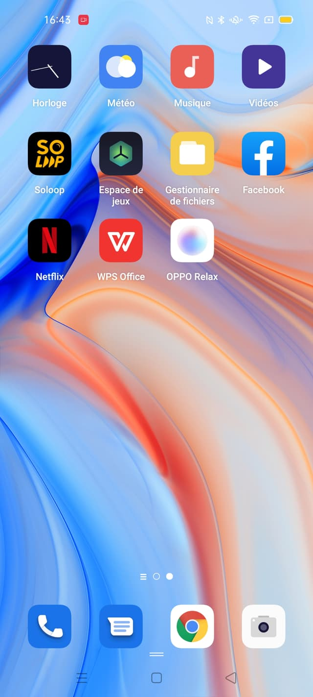 Capture d'écran de l'interface de l'OPPO Reno4 Pro 5G