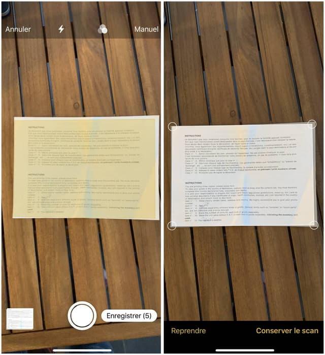 L'iPhone distingue le document de l'arrière-plan pour ne numériser que celui-ci.
