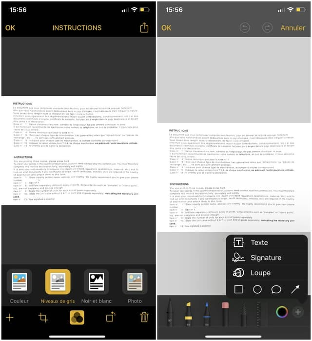 En plus de proposer les mêmes réglages qu'un véritable scanner, l'iPhone permet en prime d'annoter le document une fois qu'il est numérisé.