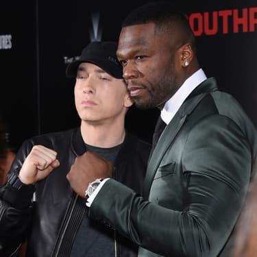 """Eminem et 50 Cent à l'avant-première de """"La Rage au ventre"""" à New York, le 20 juillet 2015."""