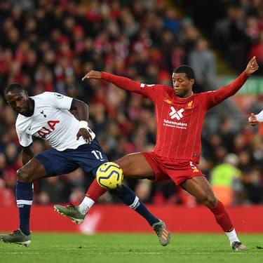 Wijnaldum de Liverpool face à Sissoko er Alli de Tottenham lors du match aller, le 27 octobre 2019 à Liverpool