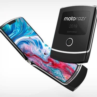 Le nouveau smartphone pliable de Motorola, RAZR, tel que présenté par l'agence Yanko Design.
