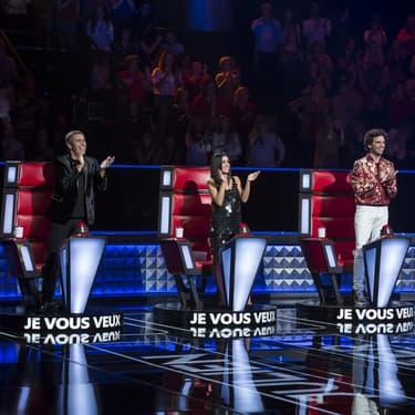 Julien Clerc, Jenifer, Mika et Soprano, les quatres coaches de la huitième saison de The Voice, lors des auditions à l'aveugle, diffusée sur TF1.