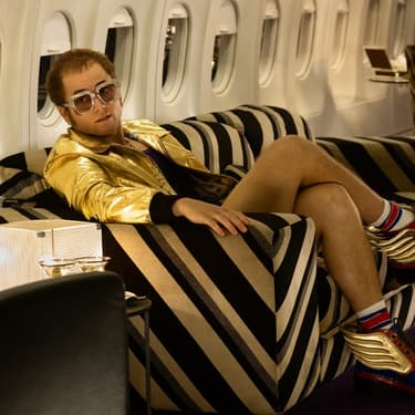 Taron Egerton dans le rôle d'Elton John, dans le film Rocketman de Dexter Fletcher, qui sera présenté hors compétition lors du Festival de Cannes 2019.