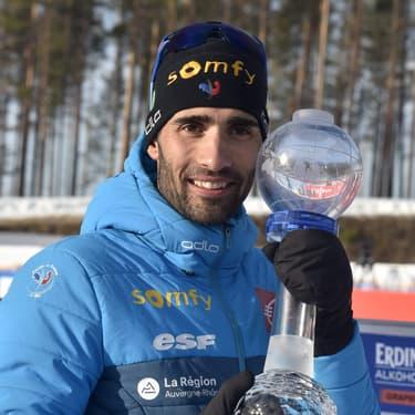 Martin Fourcade remporte un petit Globe de Cristal à Kontiolahti, en Finlande, le 14 mars 2020.