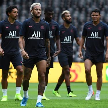Neymar à l'entraînement à Shenzen, avant le Trophée des Champions, aux côtés de ses coéquipiers du Paris Saint-Germain, le 2 août 2019.