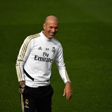 Zinédine Zidane à l'entraînement avant un match Real Madrid - Séville FC, à Valdebebas, le 21 septembre 2019.