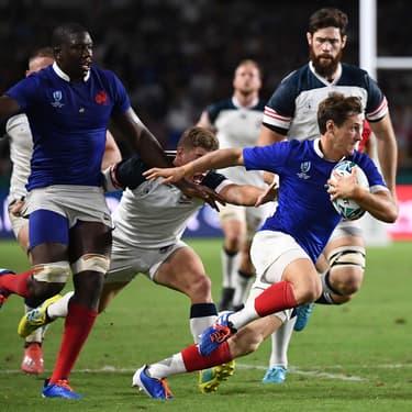 Baptiste Serin et le XV de France affrontaient les États-Unis en Coupe du Monde de rugby, à Fukuoka au Japon, le 2 septembre 2019.