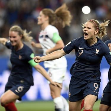 Eugénie Le Sommer a mené l'Équipe de France à la victoire face à la Norvège, en Coupe du Monde, le 12 juin 2019 à Nice.