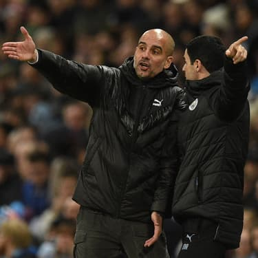 Guardiola et Arteta ensemble à la tête de Manchester City lors du match de Premier League contre Burnley, le 26 novembre 2019