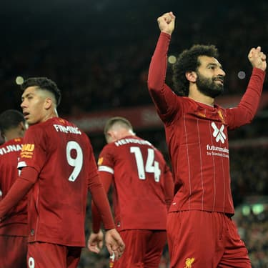 Salah, Firmino et les joueurs de Liverpool lors de la victoire face à Tottenham (2-1) à Anfield Road le 27 octobre 2019