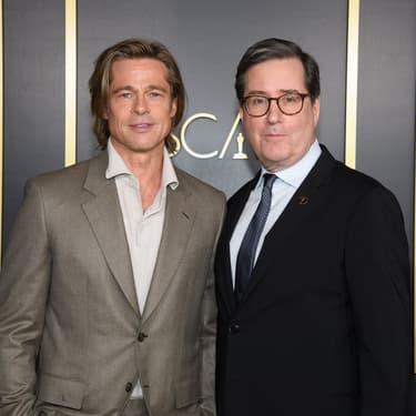 Brad Pitt et David Rubin lors du déjeuner des nommés aux Oscars.