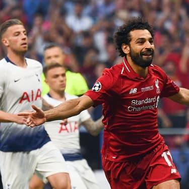 Mohamed Salah célèbre son but face à Tottenham en finale de Ligue des Champions, à Madrid, le 1er juin 2019.