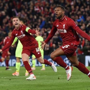 Gini Wijnaldum vient de marquer durant l'incroyable remontada de Liverpool face au FC Barcelone (4-0)