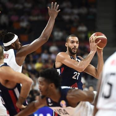 Rudy Gobert en quarts de finale de Coupe du Monde de basket face aux États-Unis, à Dongguan, le 11 septembre 2019.