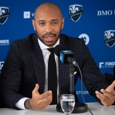 Thierry Henry lors de la conférence de presse organisée par l'Impact de Montréal, au Québec, le 18 novembre 2019.
