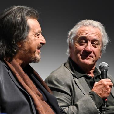 """Al Pacino et Robert De Niro en conférence de presse pour """"The Irishman"""", au New York Film Festival, le 27 septembre 2019."""