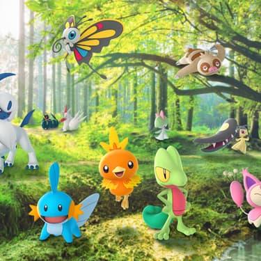 Les Pokémon de la région Hoenn, de la troisième génération, lorsqu'ils sont arrivés dans le jeu mobile Pokémon GO.