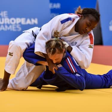 Clarisse Agbegnenou face à la Britannique Alice Schlesinger lors des Jeux européens organisés à Minsk, le 23 juin 2019.