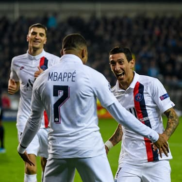 Les joueurs du PSG célèbrent leur belle performance face au Club Bruges, en troisième journée de Ligue des champions, le 22 octobre 2019.