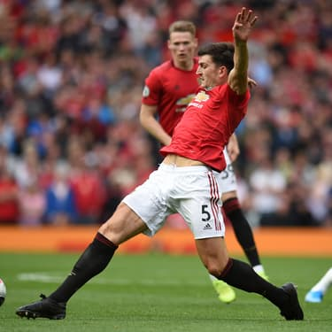 Harry Maguire durant son premier match pour Manhester United à Old Trafford, face à Chelsea.