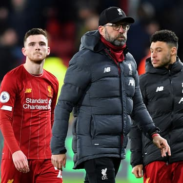 Robertson, Klopp et Chamberlain après la défaite de Liverpool à Watford, le 29 février 2020